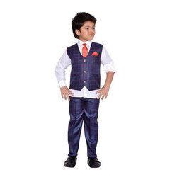 Blue Cotton Kids Party Wear Suit Set