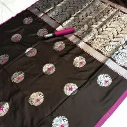 Fancy Soft Cotton Weaving Silk Saree