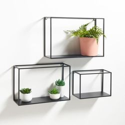 Black And White Mild Steel Wall Mounted Floating Shelve