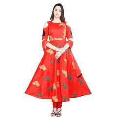 Red Embroidered Anarkali Suit