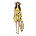 Women Yellow Color Chiffon Knee Length Printed Chiffon Dress