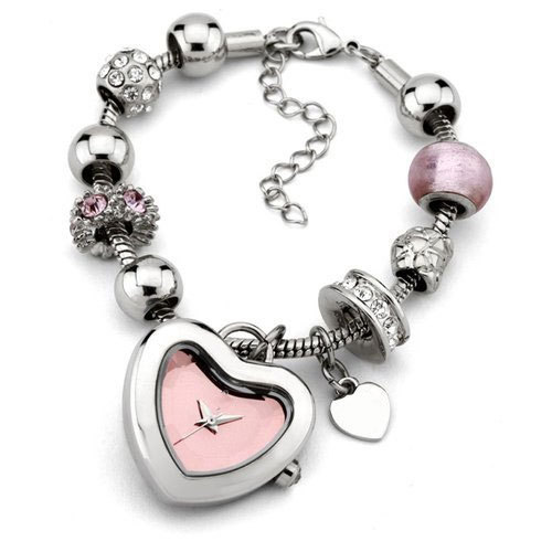 Silver And Pink Las Bracelet Watch