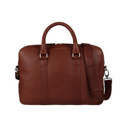 Grain Leather Briefcase - Brown