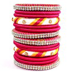 Indian Handcraft Colourful Decorative Party Wear Silk Thread Bangle