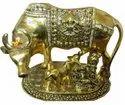 Gold Plated Kaamdhenu Cow Calf Metal Statue For Return Gifts