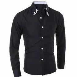 Black Satin Men Full Sleeves Plain Shirt