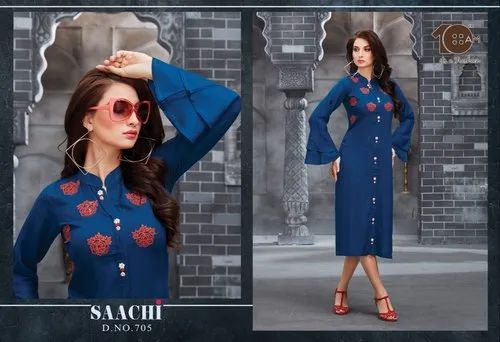 Blue Rayon 10AM Bell Sleeves Knee Length Kurti