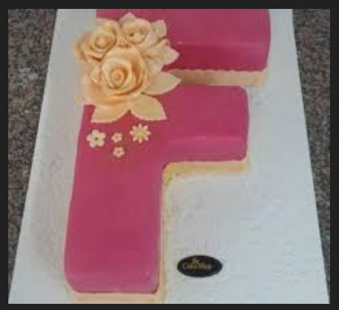 Pink Celebrate Birthday With 1st Letter F Cake 55183e13fcc4