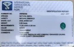 Natural Emerald 3.29 Carat IGI Certified