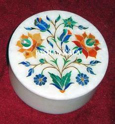 Round Marble Inlay Jewelry Box