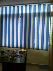 White and Blue Window Vertical Blinds for Office