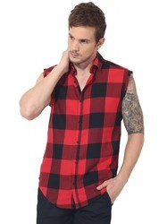 Red Sleeveless Checks Shirts