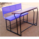 Mild Steel Perforated Seat Purple Back School Bench