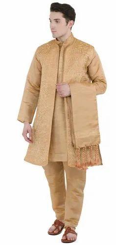 b3471a93af Skavij Men' s Dupion Art Silk Long Sleeve Button Down Kurta Pajama Set - (