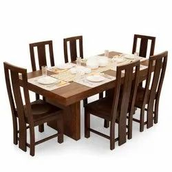 Standard Height Brown Wooden Dining Table Set