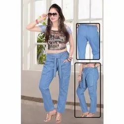 Dx/Stone/Light Blue/Black Plain Ladies Denim Pants with Harem