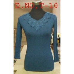 Hosiery Blue Full Sleeves Ladies Fancy Top