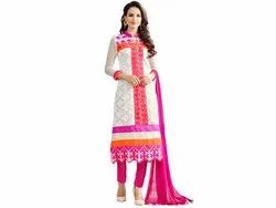 Pink and Off White Colured Semi Stitched Salwar Suit