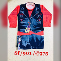 Half Jacket Kids Denim Suit