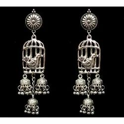 Bird with Cage Oxidized Earrings Set