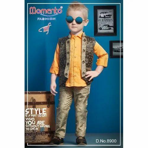 Multicolor Momento Fashion Boys Stylish Jacket Set