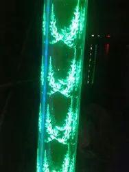 Green Polished Decorative LED Glass Pillar, Size: 2000 Mm, 2500 Mm & 3000 Mm