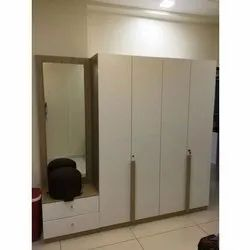 HDHMR Hinged Designer Wooden Wardrobe With Mirror, For Home, Number Of Doors: 4