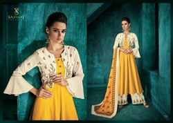 Party Wear Anarkali Suit Ladies Designer Palazzo Suit, Wash Care: Dry clean