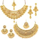 Daluci Indian Traditional Gold Plated Pearl Choker Necklace Glamorous Combo For Women And Girls
