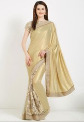 Raw Silk Ceremonial Golden Stylish Designer Saree