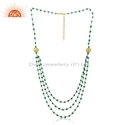 Designer Gold Plated Silver Natural Green Onyx Beaded Gemstone Necklace Womens Jewelry