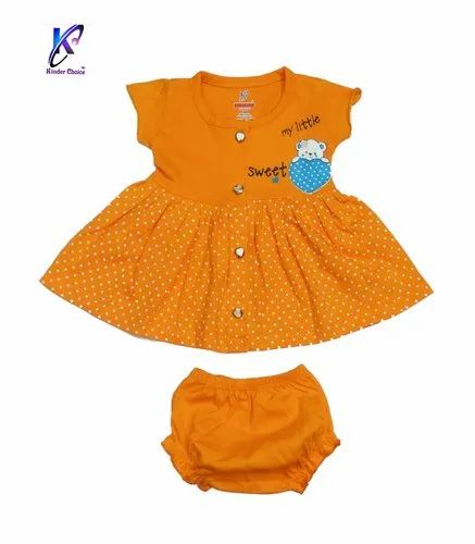 Half Sleeve Frock With Pant For Baby Girls