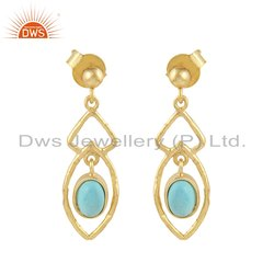 18k Yellow Gold Plated Silver Arizona Turquoise Earrings