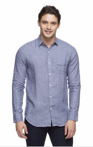 8280ab6a203 Men Linen Grey Slim Fit Shirt