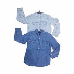 Blue Boys Kid Denim Shirt, Packaging Type: Packet