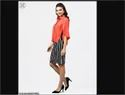 Aasi Red Cape Sleeves Formal Shirt With Midi Striped Skirt, Size: S-xxl