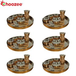 Choozee - Copper Thali Set of 6 (48 Pcs) Thali, Bowl, Spoon & Matka Glass