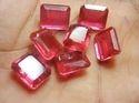 Octagon Shape Doublet Red Ruby Quartz