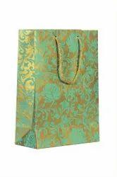 Handmade Paper Rama Green Golden Floral Bags, Dory, Capacity: 5kg