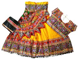 Kutch Embroidered Kids Chaniya Choli - Baby Girl Lehenga Choli - Navratri Wear Choli