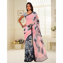 Multicolor Printed Chiffon Saree