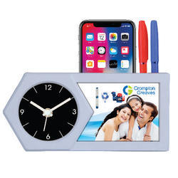 Analog Plastic Table Clock With Penstand, For Office