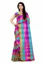 Designer Zari Border Uppada Checks Saree with Running Blouse Piece