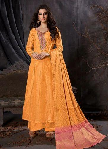 51713ac6152 Banarasi Silk Embroidered Semi-Stitched Party Wear Palazzo Suit