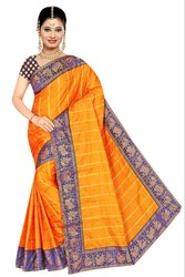 Check Printed Sana Silk Saree