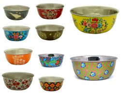 Handicraft-Palace Round Lot Stainless Steel Indian Hand Oil Painted Serving Bowl