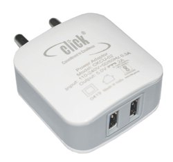 White 1 Metre CLICK CKCU-02 5V 2A 2 Port USB Mobile Charger BIS Certified, For To Charge Mobile Phones