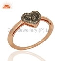 Rose Gold Plated Heart Pave Diamond Ring