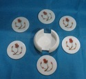 White Marble Inlay Flower Design Costers