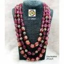 Cl Code Semi Precious Tourmaline Multilayer Painting Beads Fashion Jewellery Necklace